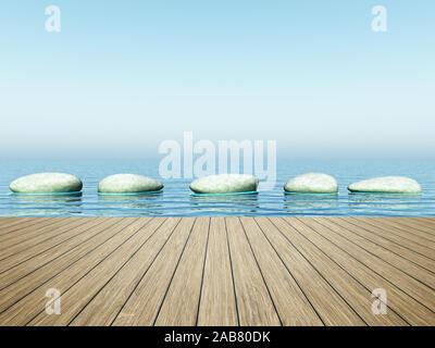 Sicht von einem Bootssteg aus auf Trittsteine - Stock Photo