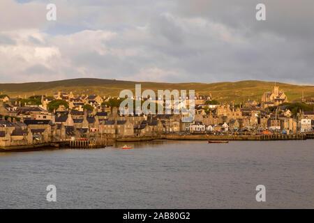 Lerwick, elevated view from the sea, morning light, Lerwick, Mainland, Shetland Isles, Scotland, United Kingdom, Europe - Stock Photo