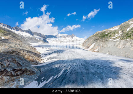 Ice tongue of Rhone Glacier in summer, Gletsch, Canton of Valais, Switzerland, Europe - Stock Photo