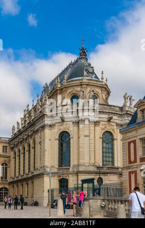 Great view of the Royal Chapel of the famous Palace of Versailles in portrait format. The historical monument and UNESCO World Heritage site was... - Stock Photo