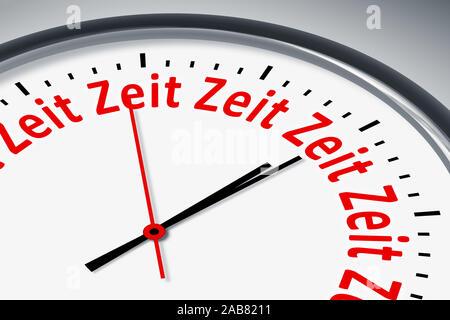 Ein simples Ziffernblatt mit der Aufschrift: 'Zeit' - Stock Photo