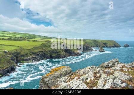 Coastal views from Willapark Lookout near Boscastle on the Atlantic coast of Cornwall, England, United Kingdom, Europe - Stock Photo