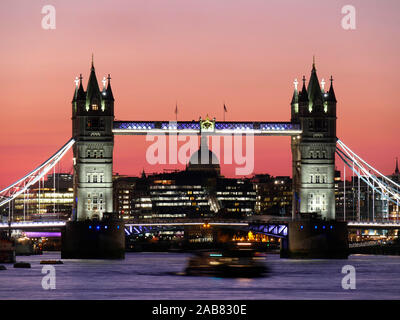 Panoramic view of Tower Bridge framing St. Paul's Cathedral, London, England, United Kingdom, Europe