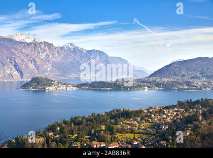 Bellagio and Varenna viewed from Griante on the western shore of Lake Como, Lombardy, Italian Lakes, Italy, Europe
