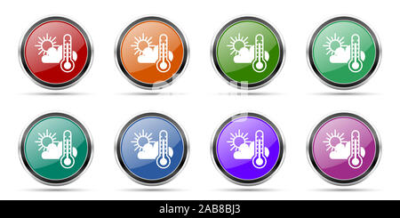 Weather forecast icons, set of round glossy web buttons with silver metallic chrome borders isolated on white background in 8 options - Stock Photo
