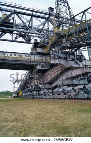 Visitor Mine F60a - former overpass conveyor bridge in brandenburg germany - Stock Photo