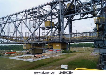 Visitor Mine F60a - former overpass conveyor bridge in brandenburg germany - Stock Photo