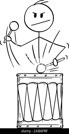 Vector cartoon stick figure drawing conceptual illustration of man,drummer or businessman playing music or rhythm on big retro drum. - Stock Photo