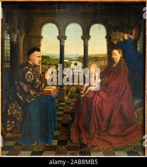 '''Virgin and Child with Chancellor Rolin'', 1434, Jan van Eyck, Musée du Louvre, Paris, France, Europe - Stock Photo