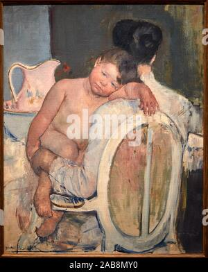 '''Seated Woman with a Child in Her Arms'', c. 1890, Mary Cassatt (1844-1926, Museo de Bellas Artes, Bilbao, Bizkaia, Basque Country, Spain - Stock Photo