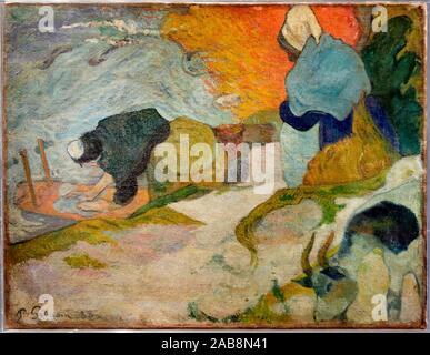 '''Laveuses à Arles'', 1888, Paul Gauguin (1848-1903), Museo de Bellas Artes, Bilbao, Bizkaia, Basque Country, Spain - Stock Photo