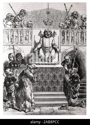 Spain, Galicia, Santiago de Compostela, altar to Saint James (from ''Le Magazine Pittoresque, 1841. ). - Stock Photo