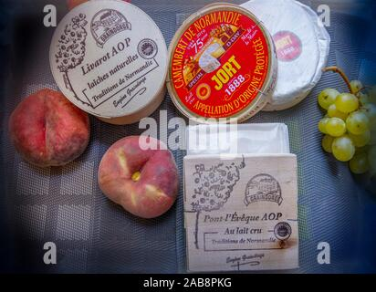 France, Normandie, 3 of the most famed cheeses from Normandie : ''Livarot'', ''Camembert'', and ''Pont l'Évêque''. - Stock Photo