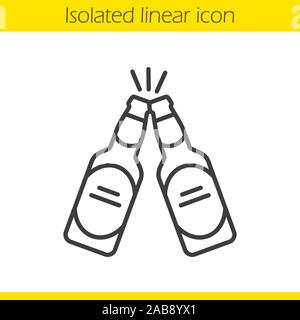 Toasting beer bottles linear icon. Cheers. Thin line illustration. Two beer bottles contour symbol. Pub and bar sign. Vector isolated outline drawing - Stock Photo