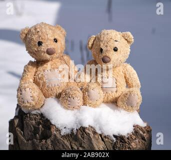 two small teddy bears are sitting on a stump in a snowy winter day.
