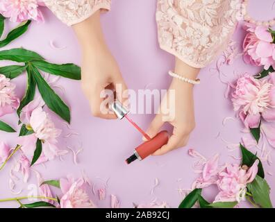 female hands with smooth fair skin keep liquid red lipstick in a tube on a lilac background with pink peonies, top view. - Stock Photo