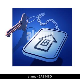 Keys with a keychain on a chain with a house icon. The concept of working with real estate, or the development of new housing. Vector 3d illustration. - Stock Photo