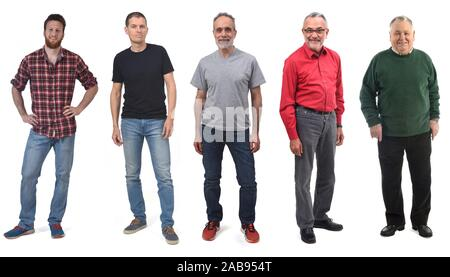 group of man of different ages in white background. - Stock Photo