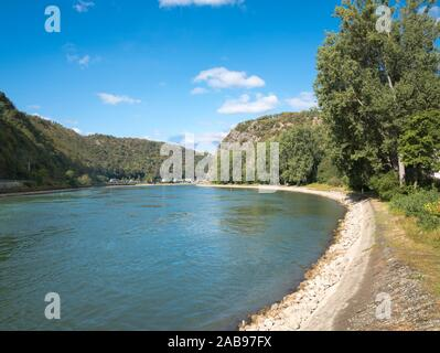 Lorelei Rock above the Rhine River, UNESCO World Heritage Site, Sankt Goarshausen, Rhineland-Palatinate, Germany, Europe. - Stock Photo