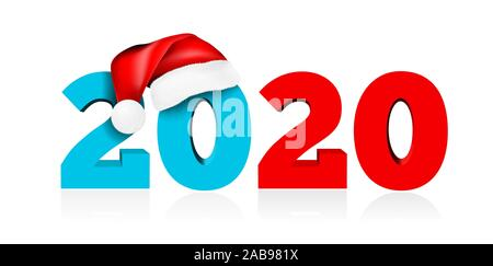 Happy New Year 2020. Figures under the hat of Santa Claus. Vector illustration on white background. - Stock Photo