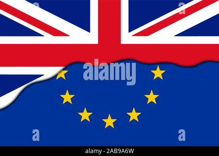 Brexit Concept. European Union EU flag Covered by Great Britain flag. - Stock Photo