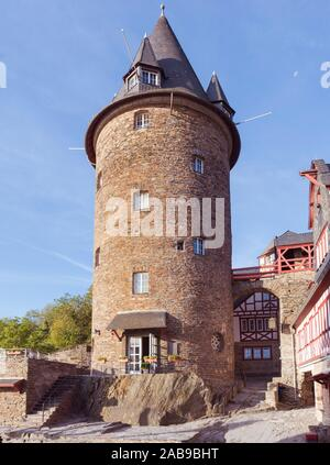 Bacharach, Germany, 09. 20. 2019 The Tower of Stahleck Castle in the Rhine village Bacharach. - Stock Photo