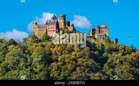 Schönburg castle near the village Oberwesel. Rhineland-Palatinate, Germany, Europe. - Stock Photo