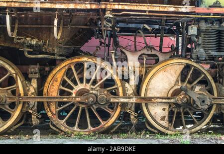 Details of an old steam locomotive. Close up wheels. - Stock Photo