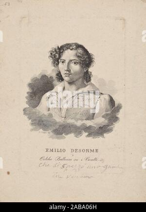 Emilio Desorme. Muzzi, Fausto, b. 1801 (Attributed name). Prints depicting dance Theatrical dancers, singly or in pairs. Date Issued: 1830 - 1840 - Stock Photo