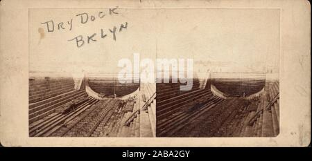 Dry dock, Brooklyn. Robert N. Dennis collection of stereoscopic views United States States New York New York City Stereoscopic views of Brooklyn Navy - Stock Photo