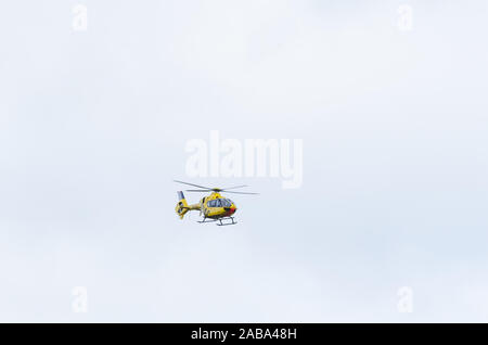 ADAC Luftrettung air rescue helicopter Eurocopter EC 135 in Koblenz, Germany, Western Europe Stock Photo