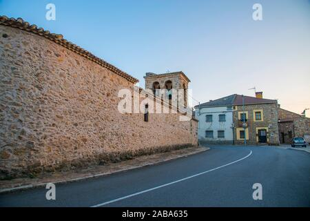 Church and street. Piñuecar, Madrid province, Spain. - Stock Photo