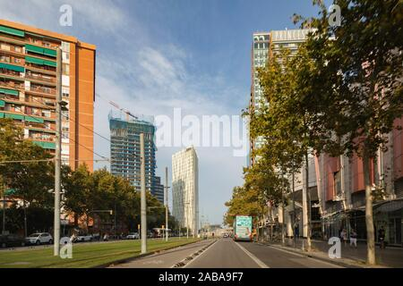 Building under construction and Telefonica Headquarters. building at Diagonal Mar district, Barcelona, Catalonia, Spain. - Stock Photo
