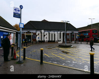 Main entrance to London underground station of Edgware in North London, the end station of the Northern Line. - Stock Photo