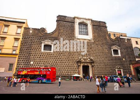 The Church of Gesù Nuovo, Piazza del Gesù Nuovo square, Naples city, Campania, Italy, Europe. - Stock Photo
