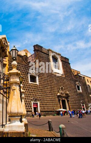 Church of Gesù Nuovo, Piazza del Gesù Nuovo square, Naples city, Campania, Italy, Europe. - Stock Photo