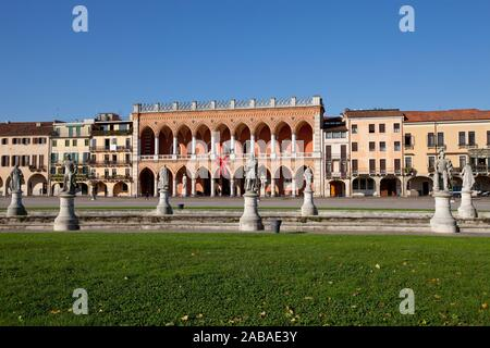 Prato della Valle is a 90,000 square meter elliptical square in Padova. It is the largest square in Italy, Padua, Italy, Europe. - Stock Photo