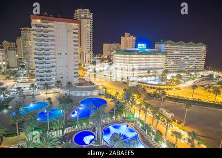 CALP ALICANTE SPAIN ON JUNE 29, 2019: Night view of the touristic town of Calpe. - Stock Photo