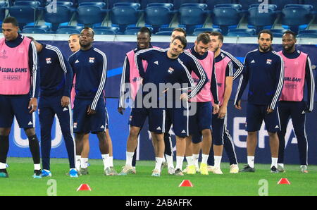 St Petersburg, Russia. 26th Nov, 2019. ST PETERSBURG, RUSSIA - NOVEMBER 26, 2019: FC Lyon's players during a training session on the eve of the 2019/20 UEFA Champions League Group G football match against FC Zenit St Petersburg at Gazprom Arena. Peter Kovalev/TASS Credit: ITAR-TASS News Agency/Alamy Live News - Stock Photo