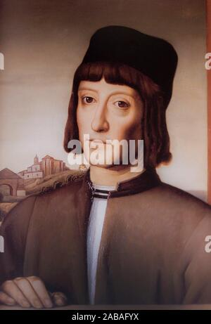 Madrid, Spain - Oct 10th, 2019: Martin Alonso Pinzon portrait. 15th Century Navigator, explorer and fisherman, painted by Julio Garcia Condoy in - Stock Photo