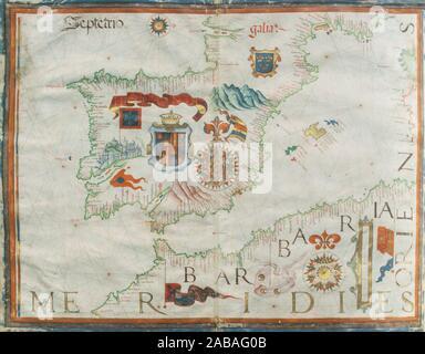 1561 Portulan map of Iberian Peninsula painted by Diego Homen. Original at Spanish Naval Museum. - Stock Photo