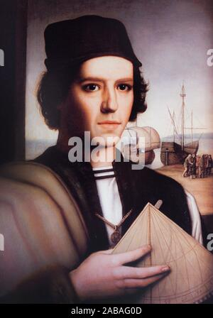 Madrid, Spain - Oct 10th, 2019: Vicente Yanez Pinzon portrait. 15th Century Navigator, explorer and fisherman, painted by Julio Garcia Condoy in - Stock Photo