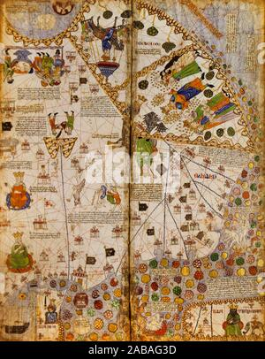 Catalan Atlas, Medieval world map created in 1375. Sixth vellum leave. Stock Photo