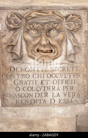Postbox for Denunciation aka Lion's Mouth or Mouth of Truth (translation is ''Secret denunciations against anyone who will conceal favors and - Stock Photo