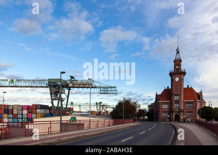 The Old Port Authority Dortmund at the container terminal in the industrial port - Stock Photo