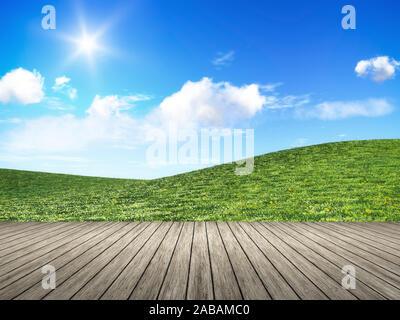 Sicht von einem Bootssteg aus auf eine schoene Naturlandschaft - Stock Photo