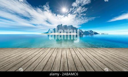 Sicht von einem Bootssteg aus auf eine Fantasie-Landschaft - Stock Photo