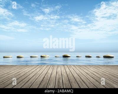 Sicht von einem Bootssteg aus auf Trittsteine im Wasser - Stock Photo