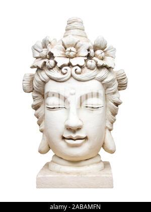 Eine schoene Buddha-Skulptur vor weissem Hintergrund - Stock Photo