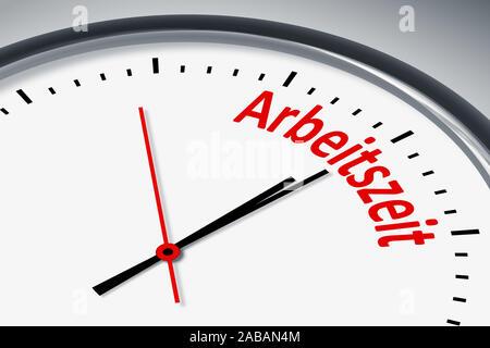 Ein simples Ziffernblatt mit der Aufschrift: 'Arbeitszeit' - Stock Photo